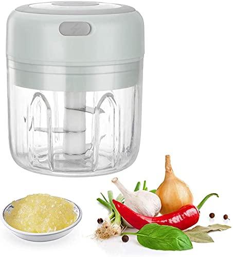 Machacador de ajo Eléctrico, 250 ml Eléctrico Trituradora de ajo, Portátil Picadora de ajo para Jengibre, Cebolla, Chile en Polvo, Carne picada (USB Recargable) (verde)