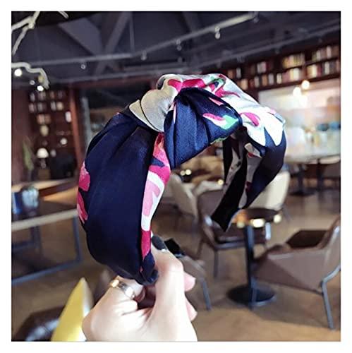 Banda para el Pelo de Las señoras Moda Accesorios para el Cabello Girls Mujeres Diadema Flowe Hairbands Adulto Verano Autumn Pein Band (Color : Navy Blue Hairband)