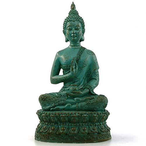 ornerx Thai Sitting Buddha Statue for Home Decor Verdigris 6.7'