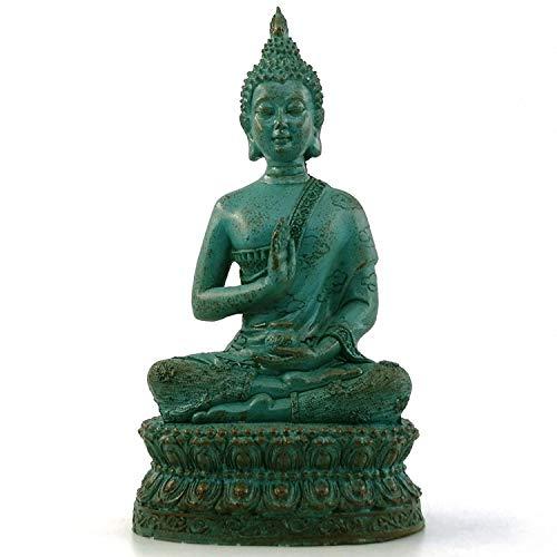 Ornerx Thai Sitting Buddha Statue for Home Decor Verdigris 6.7'