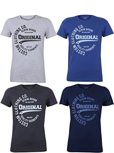 Tom Tailor Herren T-Shirt 4er Pack Kurzarm Rundhals O-Neck Basic Tee Shirt Logo Print Regular Fit 100{bd98b721fb3b15492f84ba3d1c236cd8ff7c09be8c09f56f243ee8f7d72e0df0} Baumwolle Grau Hellgrau Dunkelblau Blau S M L XL XXL 2XL, Größe:M, Farbe:Farbmix (P5)
