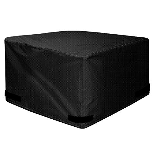 "KTX Fire Pit Cover Squarter Premium Patio Outdoor Heavy Duty with PVC Coating 100% Waterproof 44""x 44""x 24"", Black"