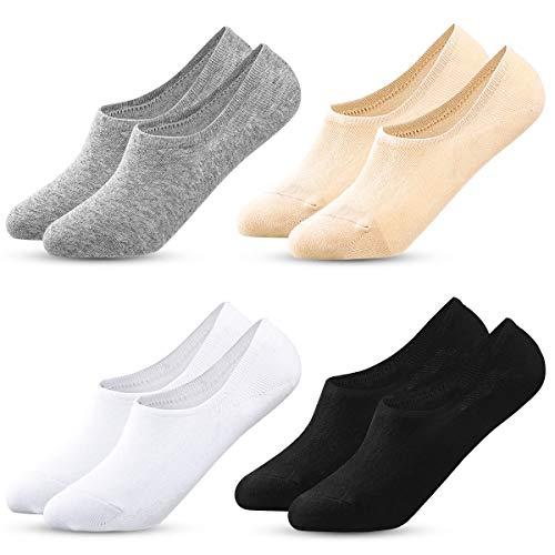MELLIEX 4 Pares Calcetines de Invisibles Mujer, Calcetines de Cortos Tobilleros Calcetin de Algodón con Silicona Antideslizante, Negro Blanco gris Desnudo