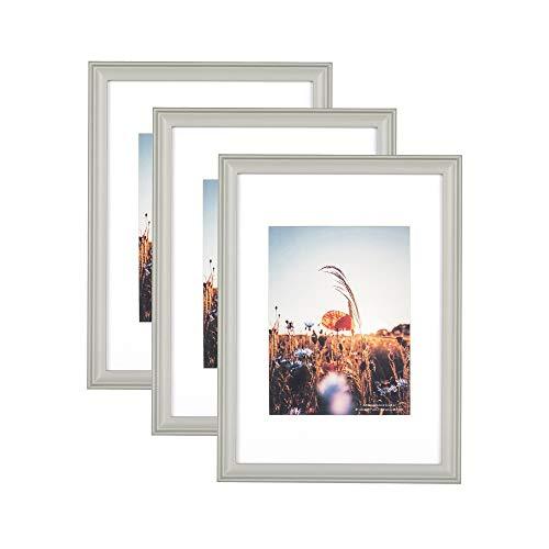 Home&Me 100% Echtholz Bilderrahmen Modern Grau DIN A4 3er Set -mit Passepartout 15x20cm, Fotorahmen mit Echtglas für Zertifikat zum aufhängen und aufstellen