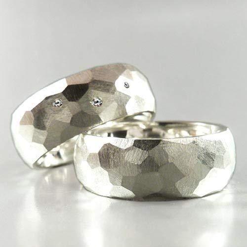 EHERINGE SET aus Sterlingsilber mit Facetten und 3 Diamanten - Trauringe, Hochzeitsringe, Freundschaftringe - handgefertigt by SILVERLOUNGE