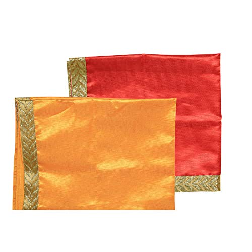 """Aditri Creations Rot Und Gelb Große Pooja Tuchmatte Aasan Dekorative Tuch 2Er Set (22\""""X 22\"""") Für Mehrzweck Pooja Dekorationen Artikel & Artikel Gelb Laxmi"""