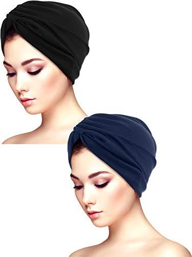 Yaomiao 2 Stücke Schlaf Weichen Turban Kappen Gedruckt Turban Hut Schlaf Hut Headwears für Damen (Farbe Satz 4)