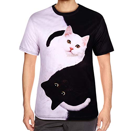 ZANFUN T-Shirt for Women Summer Funny 3D Print Cat Short Sleeve Teen Girls Casual Cute Animal Shirts Tops Blouse S-3XL White