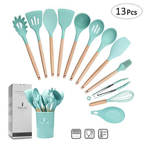 ZCOINS - 12+1 Juego de utensilios de cocina de silicona con asas de madera y soporte, utensilios de cocina (Verde)