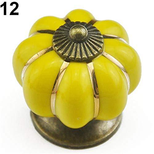 Funie Vintage Keramik Türknauf Schrank, Schublade, Schrank, Küche, Zuggriff – Gelb Kürbis, Yellow Pumpkin, einheitsgröße