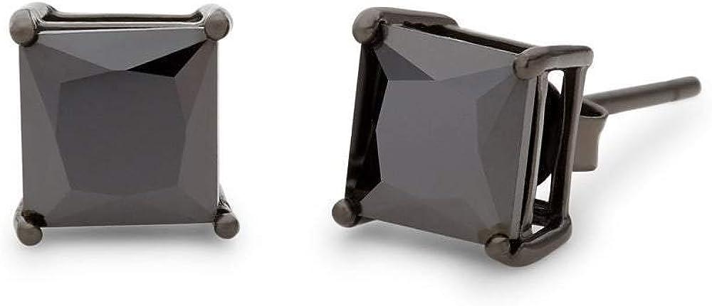Men's 6mm Square Black Earrings 特価 Stud CZ 全商品オープニング価格