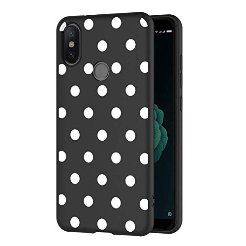 ZhuoFan Funda Xiaomi Mi A2 Cárcasa Silicona Ultrafina Negra con Dibujos Diseño Suave TPU Gel Antigolpes de Protector Piel Case Cover Bumper Fundas para Movil Xiao Mi MiA2, Lunares Blanc
