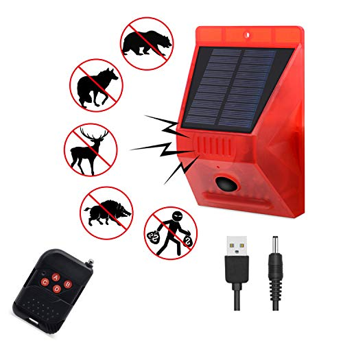 Solar Strobe Light with Motion Detector Solar Alarm Light with Remote Controller 129db Sound Security Siren Light IP65 Waterproof 24 Hours+Night Mode for Home, Farm,Barn,Villa,Yard.