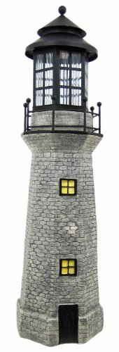 Garden Figurine Lighthouse With Light