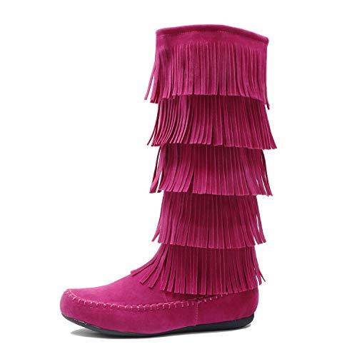 West Blvd - Lima – Damen Westernstiefel mit Fransen, 3-stöckig, flach – Wildlederimitat, Pink (Fuchsiav1 Wildleder), 38 EU