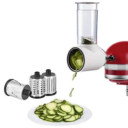 Slicer Shredder Attachment for KitchenAid Stand Mixer Durable Salad Maker Accessories Salad Slicer Vegetable Slicer Cheese Slicer Accessories By Cofun(White)