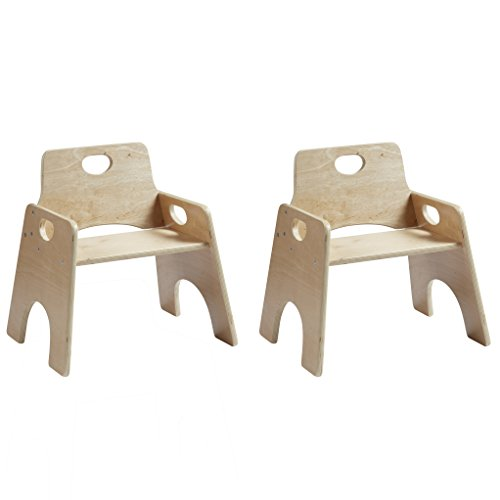 """ECR4Kids 8"""" Stackable Wooden Chair for Toddlers - Sturdy Hardwood Seat for Daycare/Preschool/Home Furniture -Natural Finish (2-Pack)"""