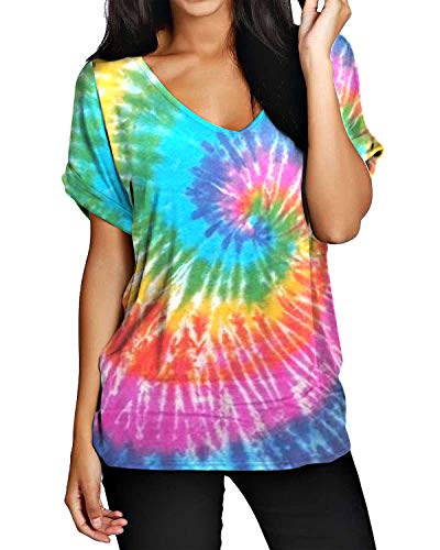 ZANZEA Damen V-Ausschnitt Kurzarm T-Shirt Bunte Lose Bluse Oversize Oberteile Tops 07-bunt2 XXX-Large