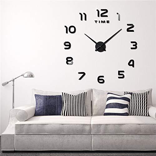 Eternity Equal Modern DIY Grote Wandklok Grote Horloge Sticker 3D Stickers Romeinse cijfers Wandklok Home Office Verwijderbare Decoratie voor Woonkamer (Batterij NIET inbegrepen), zilver