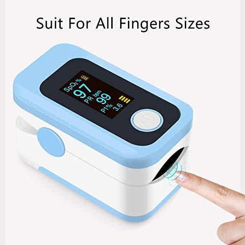 41N2+JnXTLL - Oxímetro de pulso, oxímetro de dedo profesional con pantalla OLED, utilizado para medir SpO2 y PI y PR, lecturas precisas y confiables en tiempo real (azul)
