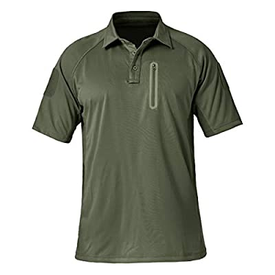 TACVASEN Men's Lightweight Airsoft Pullover T-Shirt Hiking Polo Shirts Army Green, XL