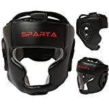 Sparta Boxing Head Guard Helmet Headguard Unisex Senior - MMA Martial Arts Kick Face Fight Training Headgear - Sparring Protector Gear Zero Impact (Black, Junior)