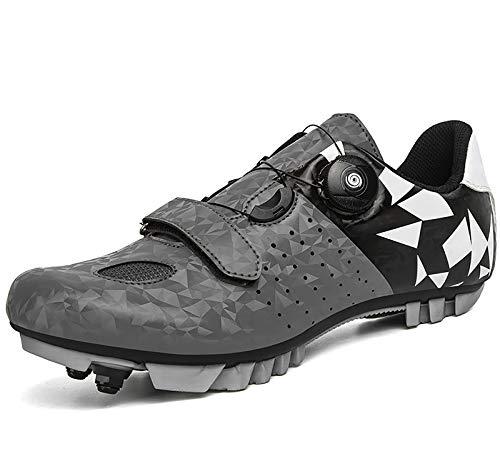 QAL Zapatillas de Ciclismo para Hombres y Mujeres, Zapatos giratorios para Montar en Carretera, Hebilla Transpirable, Zapatos de Ciclismo para Interiores SPD compatibles Grey-44