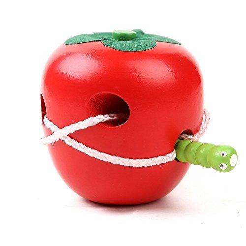 Daorier Jeu d'exploration Jeu de patience de Laçage Pomme à Enfiler Jouet éducatif en Bois Pour...