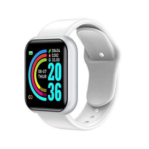 Bluetooth Smart Watches Hombres Impermeable Deporte Fitness Tracker Pulsera Inteligente Presión Arterial Monitor De Ritmo Cardíaco Y68 Smartwatch (Color : White, Size : Plastic Box)