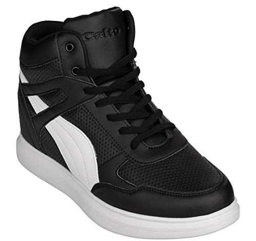 CALTO Men's Invisible Height Increasing Elevator Shoes - Black Leather Lace-up High-top Fashion Sneakers - 3.8 Inches Taller - H71901 - Size 8 D(M) US