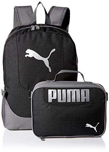 PUMA Big Kid's Lunch Box Backpack Combo, black/Gray, Youth Size