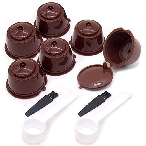 HomeDejavu 6 Stück Kaffeekapsel für Dolce Gusto Kaffeekapsel Wiederverwendbare Nachfüllbare Kaffeekapsel-Kapseln Kaffeekapsel-Filtertasse mit 2 Kaffeelöffel und 2 Bürste