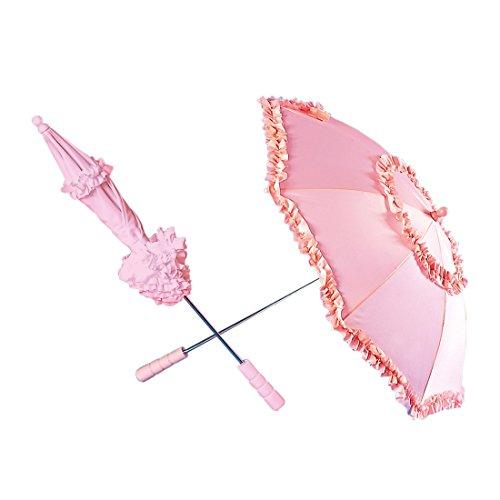 Amakando Parapluie Romantique à Volants coquet ombrelle Baroque 72 cm en Rose Rococo Mariage Accessoire théâtre Mariage déguisement