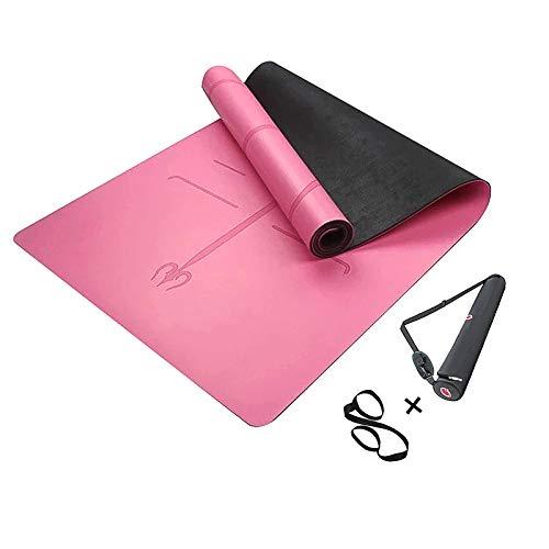 MINCHEDA Tappetino Yoga Antiscivolo con Linea di Posizione, Professionale e Eco, per Pilates, Fitness, Palestra, Borsa da Yoga, 183 * 68 * 0.5 cm