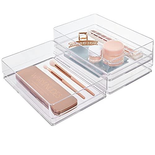 STORi Clear Plastic Drawer Organizers 9' x 6' x 2' l Set of 3