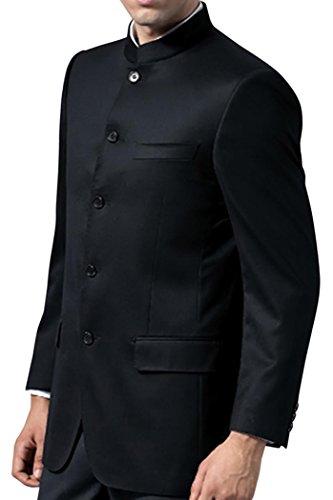 INMONARCH Schwarze Herren Nehru Mao Jacke mit Stehkragen NJ105S48 58 or 4XL (Höhe 163 cm bis 170 cm) Schwarz