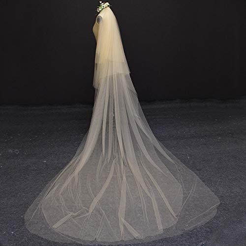 WFSDKN bruidssluier 4 lagen 3 meter champagne kleur lang met kam bruidssluier elegante bruidssluier