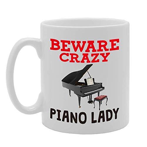 NA MG4383 Beware Crazy Piano Lady Novelty Gift Printed Tea Coffee Ceramic Mug