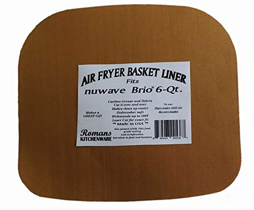 Romans Kitchenware Grease Catching Mat for 6 Quart Air Fryer. Made in the USA. This Air Fryer Basket Liner Will Make Clean Up a Breeze!