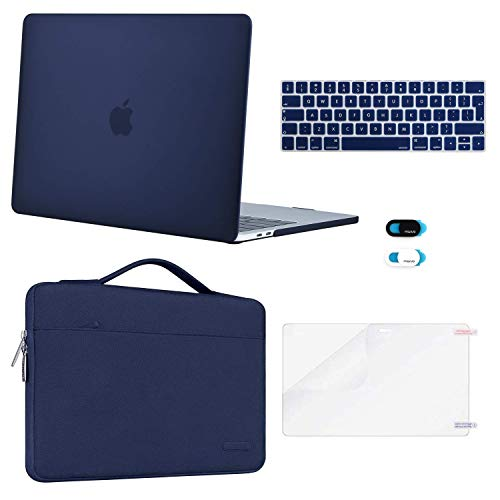 MOSISO plastic harde case & sleeve tas & toetsenbordbescherming & Webcam Cover & displaybescherming compatibel met MacBook Pro 13 inch marineblauw
