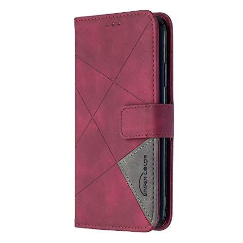 Funda OPPO A7, a prueba de golpes, cuero premium, cierre magnético, diseño de libro, con ranuras para tarjetas, función atril, para OPPO A7, color rojo