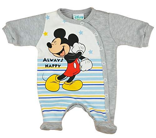 Langarm Baby Jungen Mickey Mouse Strampler Overall Weiß Blau Disney mit Füsschen 100% Baumwolle in Größe 56 62 68 74 für 0 3 6 Monate und Frühchen mit Patentknöpfe und Fuß Farbe Grau, Größe 62