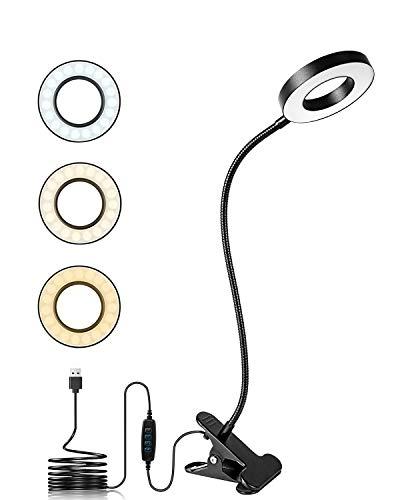 Led Lampada con Pinza,Swonuk 7W 48 LED Lampada da Lettura 3 Modalità di Colore 10 Luminosità Dimmerabile Lampada da Scrivania,Lampada da Lettura Libro Letto con Pinza 360°Flessibile