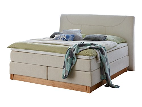 Atlantic Home Collection BELLA Boxspringbett, 7-Zonen Taschenfederkern-Matratze auf Bonell-Federkern, 160 x 200 cm, Stoff, creme