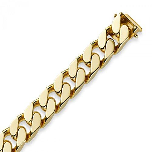 12mm Herren Armband Armkette Panzerarmband 750 Echt Gold Gelbgold massiv, 22cm