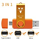 V VATAPO 3.1 128GB 3 in 1 High Speed Flash Drive for Android Phones Type C/USB C Devices,Tablets .Photo Stick for Samsung Galaxy,LG,Google Pixel,Hua Wei.(for Micro &USB C Ports,Not for iPhone) (Orang)
