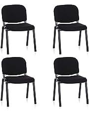hjh OFFICE 704500 silla de confidente XT 600 lote de 4 tejido negro, apilable, acero estable, 4 sillas