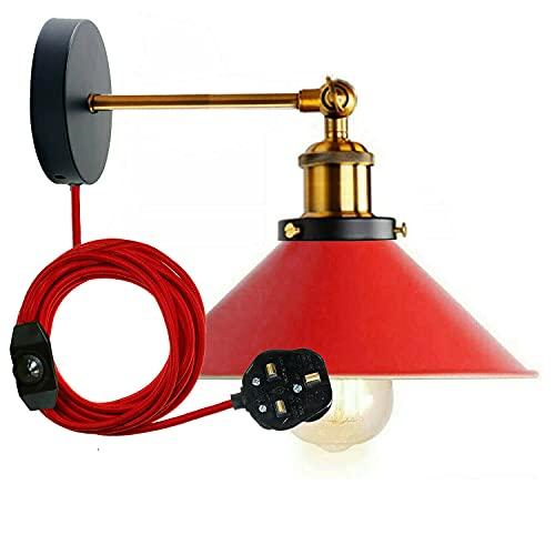 Lámpara de pared moderna vintage retro industrial con enchufe de latón amarillo, interruptor de intensidad y pantalla de lámpara (rojo)
