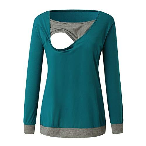 H.eternal(TM) Conjunto de pijama de maternidad con cuello redondo de manga larga para lactancia materna para mujer Azul azul M