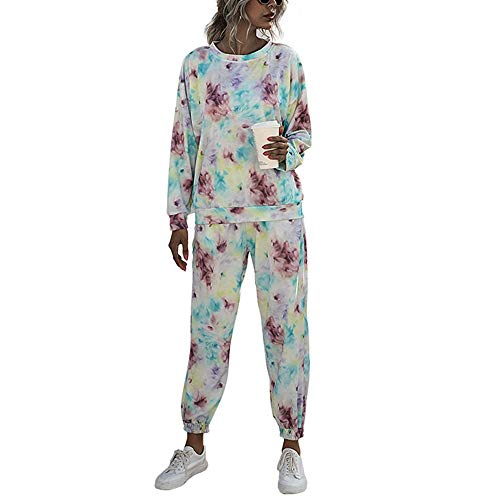 2Piece Women's Casual Tie Dye Sweatsuit,Long Sleeve Crewneck Pullover Tops Jogger Set Tracksuit with Pockets Purple